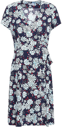 Claudie Pierlot Wrap-effect Floral-print Crepe Mini Dress