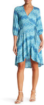 Loveappella Print 3/4 Sleeve Wrap Dress