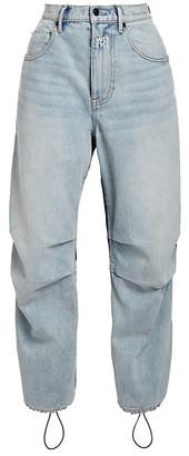 alexanderwang.t High-Rise Mixed-Media Nylon Denim Pants