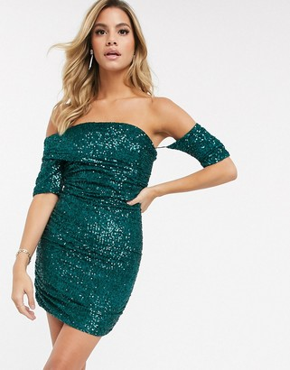 Club L London fallen shoulder bardot sequin mini dress in green