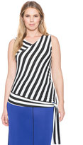 ELOQUII Plus Size Sleeveless Striped Side Tie Top