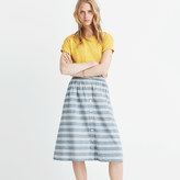 Madewell Striped Button-Front Midi Skirt