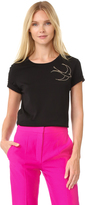 Nina Ricci Short Sleeve Tee with Embroidered Dove
