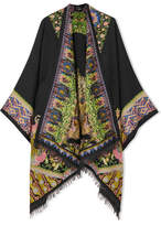 Etro Embroidered Wool-blend Wrap - Black