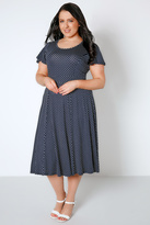 Yours Clothing Navy & White Polka Dot Fit & Flare Dress With Waist Tie
