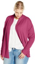 Jason Maxwell Women's Plus-Size Rack Stitch Turnback Collar Cardigan Sweater