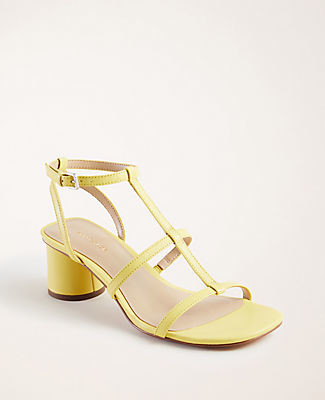 Ann Taylor Holland Leather Block Heel Sandals