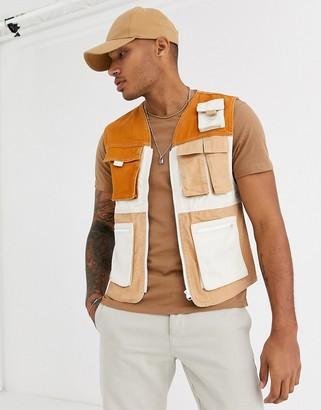 Bershka denim utility vest in beige