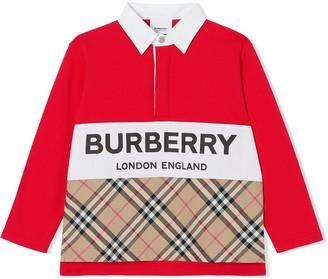 BURBERRY KIDS Long-Sleeve Check Print Polo Shirt