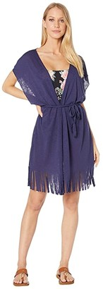 Becca by Rebecca Virtue Breezy Basics Belted Fringe Kimono Cover-Up (Navy) Women's Swimwear