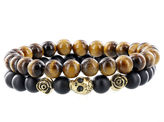 JCPenney FINE JEWELRY Dee Berkley Mens Tiger's Eye and Black Agate Bead Stretch Bracelets