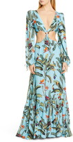 PatBO Tropical Long Sleeve Cutout Gown