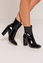 Missguided Patent Heeled Ankle Boots Black