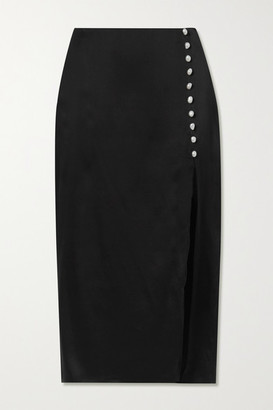 CAMI NYC The Kalanni Embellished Silk-charmeuse Midi Skirt - Black