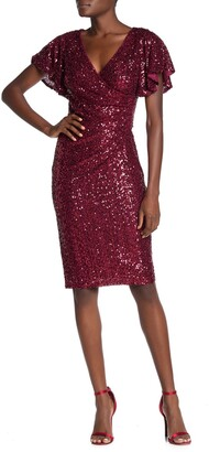 Marina Sequin Surplice Flutter Sleeve Ruched Sheath Dress