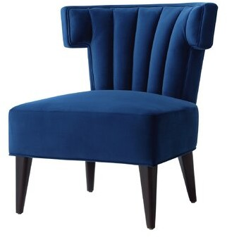 Nicole Miller Sutton Velvet Wingback Chair Upholstery Color: Navy
