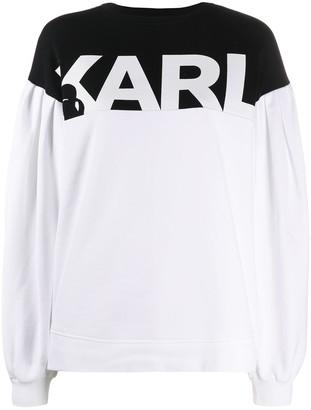 Karl Lagerfeld Paris Puffy-Sleeve Logo Sweatshirt