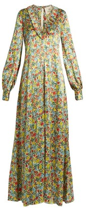By. Bonnie Young - Floral-print Ruffle-trimmed Silk Gown - Womens - Multi