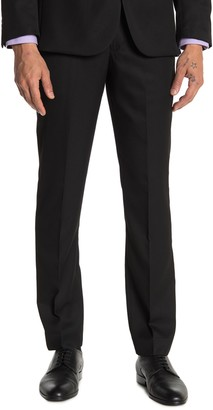 """Moss Bros Black Solid Tailored Fit Suit Separates Pants - 30-34"""" Inseam"""
