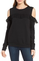 Women's Halogen Ruffle Cold Shoulder Sweatshirt