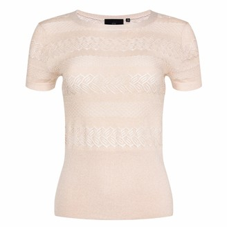 Ny Charisma Blush Textured Knitted Lace Short Sleeves Pullover