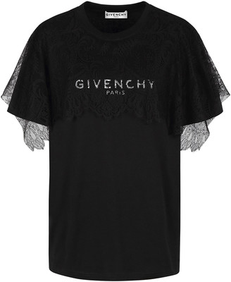 Givenchy Lace Overlay Logo T-Shirt
