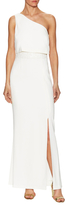 Laundry by Shelli Segal One Shoulder Pop Over Gown with Sequin Waist