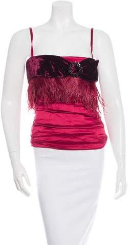 Dolce & Gabbana Feather-Trimmed Bustier Top