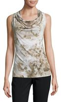 Andrew Marc Printed Cowlneck Shell