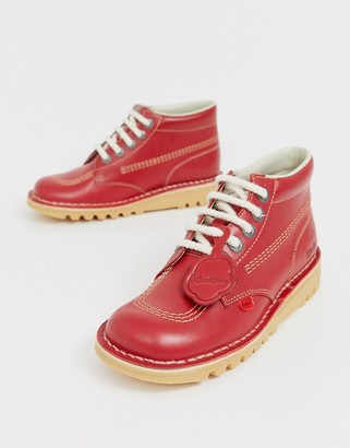Kickers Kick Hi core red leather hi top flat boots