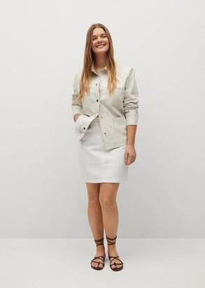 MANGO Denim miniskirt with drawstring