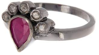 ADORNIA Sterling Silver Pear Cut Ruby Ring & Bezel Diamonds Ring