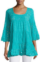 Johnny Was Bell-Sleeve Eyelet Tiered Tunic, Plus Size