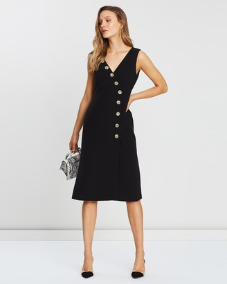 FRIEND of AUDREY - Women's Black Midi Dresses - Dylan Buttoned Dress - Size One Size, 8 at The Iconic