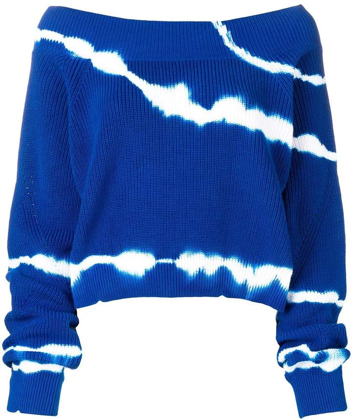 MSGM off shoulder tie-dye sweater