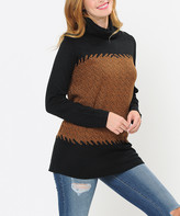 Shamaim Women's Pullover Sweaters BLACK - Black & Brown Abstract Turtleneck - Women