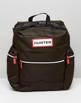 Hunter Large Logo Nylon Backpack In Olive
