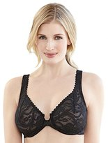 Glamorise Women's Front Closing Stretch Lace Wonderwire Full Cup Everyday Bra,42 DD