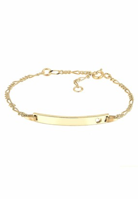 Elli Children's 925 Sterling Silver Gold Plated Kids Girls Boys Heart Bracelet of Length 14 cm
