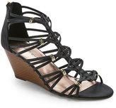 Madden-Girl Black Hoistt Caged Wedge Sandals