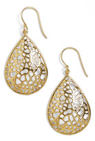 Argentovivo 18K Gold Plated Sterling Silver Teardrop Dome Lace Earrings