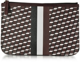 Pierre Hardy Large Burgundy and White Cube and Stripes Canvas and Leather Pouch