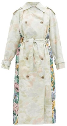 Rave Review Rue Floral-print Upcycled-cotton Trench Coat - Multi