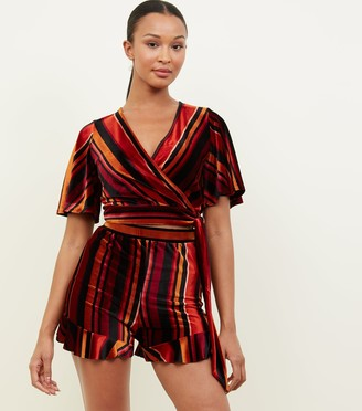 New Look Multi Stripe Velvet Crop Top