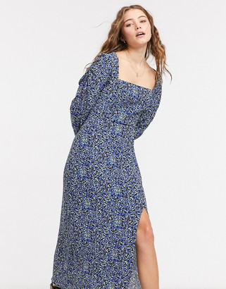 Bershka square-neck midi floral dress in blue