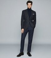 Reiss HERMITAGE WOOL COTTON BLEND CHECKED BLAZER Indigo
