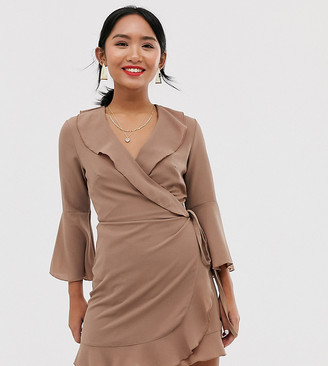 Outrageous Fortune Petite ruffle wrap dress with fluted sleeve in taupe