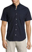 Burberry Cambridge Short-Sleeve Stretch-Cotton Shirt, Navy