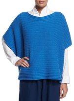 eskandar Short-Sleeve Ribbed Caftan Top, Electric Blue