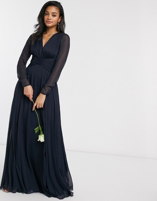 Asos Design DESIGN Bridesmaid ruched waist maxi dress with long sleeves and pleat skirt-Navy